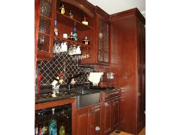 COORDINATING BAR AREA WITH APRON SINK AND INTEGRATED WINE COOLER