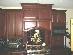DECORATIVE RANGE HOOD WITH CORBELS AND FLUTED COLUMNS!